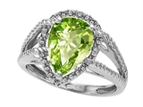 Tommaso Design™ Pear Shape 11x8mm Genuine Peridot and Diamond Ring