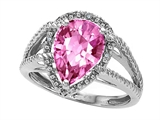 Tommaso Design™ Pear Shape 11x8mm Simulated Pink Topaz And Diamond Ring
