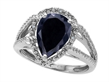 Tommaso Design™ Pear Shape 11x8mm Genuine Black Sapphire and Diamond Ring