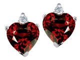 Tommaso Design Heart Shape 7mm Genuine Garnet and Diamonds Earring Studs