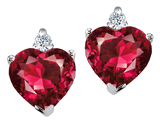 Tommaso Design Heart Shape 7mm Created Ruby and Genuine Diamonds Earring Studs