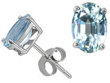 Tommaso Design™ Quality Oval 7x5mm Genuine Aquamarine Earrings Studs style: 301862