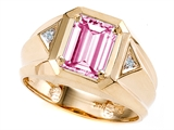 Tommaso Design™ Emerald Octagon Cut 9x7mm Simulated Pink Tourmaline And Mens Diamond Ring