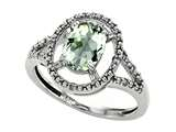 Tommaso Design™ Genuine Green Amethyst and Diamond Ring style: 301922