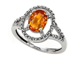 Tommaso Design™ Genuine Orange Sapphire and Diamond Ring style: 301924