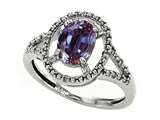 Tommaso Design Simulated Alexandrite and Diamond Ring