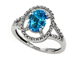 Tommaso Design™ Genuine Blue Topaz and Diamond Ring style: 301926