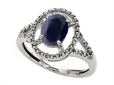 Tommaso Design™ Genuine Black Sapphire and Diamond Ring