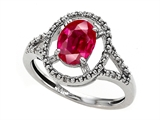 Tommaso Design Oval Created Ruby and Diamond Ring