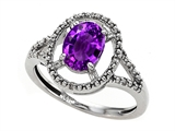 Tommaso Design™ Oval Genuine Amethyst and Diamond Ring style: 301932