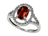 Tommaso Design Genuine Oval Garnet and Diamond Ring