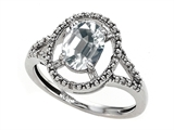 Tommaso Design Oval Genuine White Topaz and Diamond Ring
