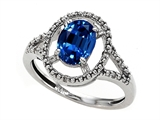 Tommaso Design Oval 8x6mm Created Sapphire and Diamond Ring