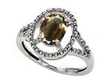 Tommaso Design™ Genuine Smoky Quartz and Diamond Ring style: 301938