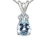 Tommaso Design Genuine Aquamarine and Diamond Pendant