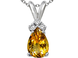 Tommaso Design™ Genuine Citrine and Diamond Pendant style: 301944