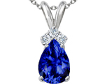 Tommaso Design™ Created Sapphire and Genuine Diamond Pendant style: 301949