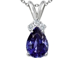 Tommaso Design™ Genuine Iolite and Diamond Pendant style: 301951
