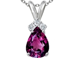 Tommaso Design™ Genuine Rhodolite and Diamond Pendant style: 301952
