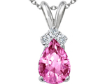 Tommaso Design™ Created Pink Sapphire and Genuine Diamonds Pendant