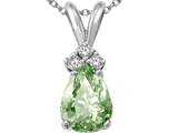Tommaso Design™ Genuine Green Amethyst and Diamond Pendant style: 301956