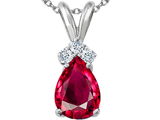 Tommaso Design Pear Shape 8x6mm Created Ruby and Genuine Diamond Pendant