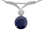 Tommaso Design™ Round 7mm Genuine Black Sapphire and Diamond Pendant