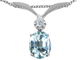 Tommaso Design Oval 7x5mm Genuine Aquamarine and Diamond Pendant