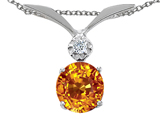 Tommaso Design™ Round 7mm Genuine Citrine and Diamond Pendant