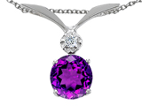 Tommaso Design Round 7mm Genuine Amethyst and Diamond Pendant