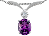 Tommaso Design Oval 7x5mm Genuine Amethyst and Diamond Pendant