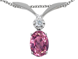 Tommaso Design Oval 7x5mm Genuine Pink Tourmaline and Diamond Pendant