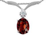 Tommaso Design Oval 7x5mm Genuine Garnet and Diamond Pendant