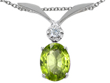 Tommaso Design™ Genuine Peridot and Diamond Pendant