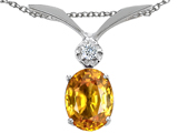 Tommaso Design Oval 7x5mm Genuine Citrine and Diamond Pendant