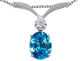 Tommaso Design Oval 7x5mm Genuine Blue Topaz and Diamond Pendant