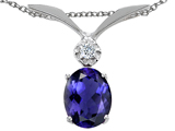 Tommaso Design™ Oval 7x5mm Genuine Iolite and Diamond Pendant