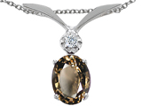 Tommaso Design Oval 7x5mm Genuine Smoky Quartz and Diamond Pendant