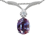 Tommaso Design Oval 7x5mm Simulated Alexandrite And Diamond Pendant