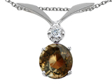 Tommaso Design™ Round 7mm Genuine Smoky Quartz Pendant