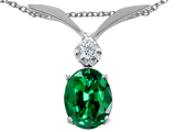 Tommaso Design Oval 7x5mm Simulated Emerald And Genuine Diamond Pendant