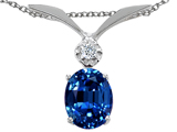 Tommaso Design Oval 7x5mm Created Sapphire and Genuine Diamond Pendant