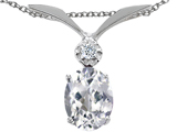 Tommaso Design™ Oval 7x5mm Genuine White Topaz and Diamond Pendant