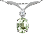 Tommaso Design Oval 7x5mm Genuine Green Amethyst and Diamond Pendant