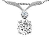 Tommaso Design™ Round Genuine White Topaz Pendant