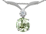 Tommaso Design™ Round 7mm Genuine Green Amethyst Pendant