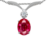 Tommaso Design Oval 7x5mm Created Ruby and Genuine Diamond Pendant