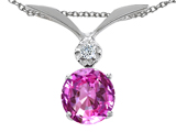 Tommaso Design™ Round 7mm Created Pink Sapphire and Genuine Diamond Pendant style: 302009