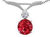 Tommaso Design Round 7mm Created Ruby and Genuine Diamond Pendant