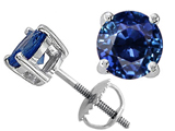 Tommaso Design™ Round 6mm Genuine Sapphire Screw Back Earring Studs